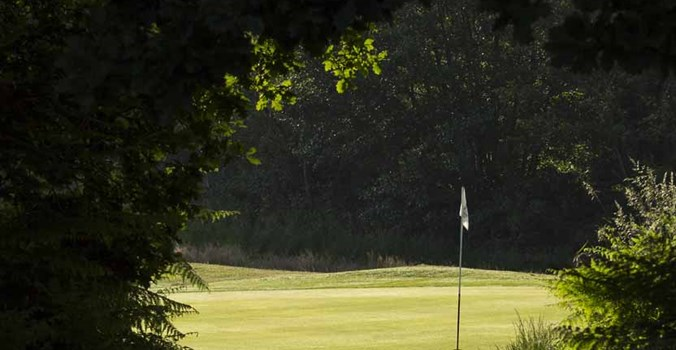 Thorpeness golf course, view through to tee