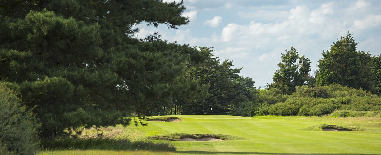 Greenside on the 1st hole at Thorpeness Golf Course Suffolk