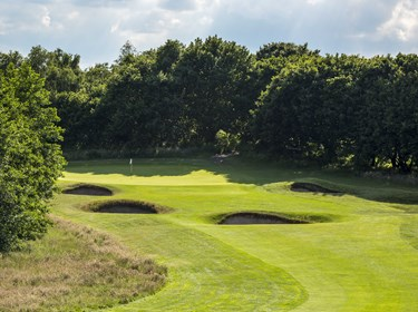 3rd Hole bunkers and green at Thorpeness Golf Course Suffolk