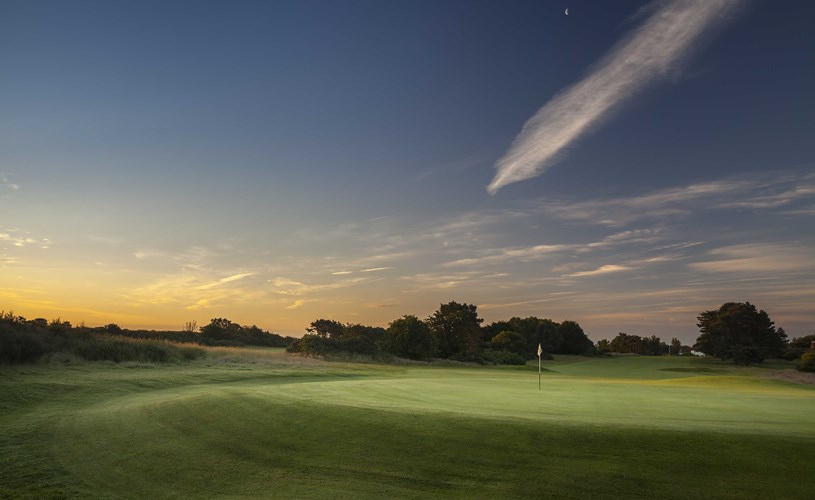 Morning over the 1st green at Thorpeness Golf Course Suffolk