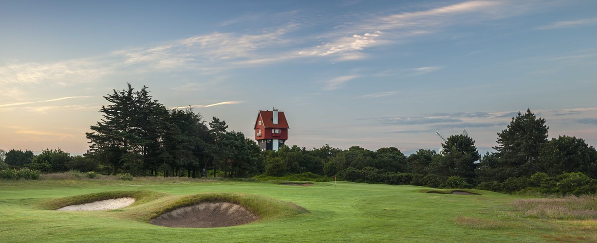 18th Hole approach with House in the Clouds at Thorpeness Golf Course Suffolk